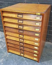 Sale 9002 - Lot 1055 - Vintage Maple Specimen Cabinet with Ten Glass Top Drawers (H:71 x W:54 x D:55cm)