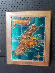 Sale 9026 - Lot 1088 - Vintage Painted Hand Made Aethra Copper Map Of Greece Kaeteaaopizo