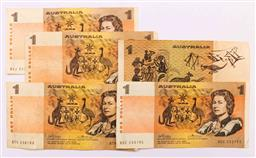 Sale 9110 - Lot 20 - A set of five x $1 Bank notes