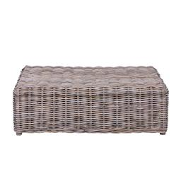 Sale 9250T - Lot 85 - A woven rattan coffee table featuring fruitwood legs. Height 34cm x Width 102cm x Depth 69cm