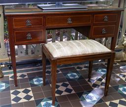 Sale 9256H - Lot 21 - A five drawer rosewood inlaid dressing table with mask pull handles on tapering legs, with fitted glass top, H 76cm x W 116cm x D 50...