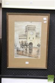 Sale 8468 - Lot 2002 - W. Dreghorn, Lenin Square, Erevan, Armenia, watercolour (34 x 24cm), singed lower right