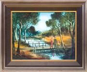 Sale 8489A - Lot 22 - Pro Hart - On the Bridge 44 x 60cm