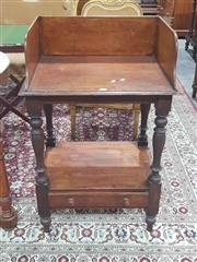 Sale 8917 - Lot 1012 - Late 19th Century Small Mahogany Washstand, with tall gallery back, turned legs & fitted drawer to base (top loose)
