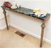 Sale 8976H - Lot 44 - A Carved and painted wall mounted console table with green Marble Top.  H-79cm L-128cm D-29cm