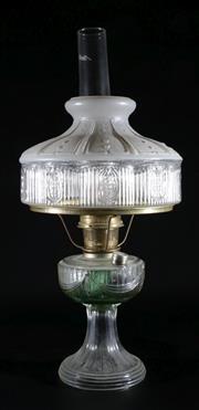 Sale 9010 - Lot 43 - A Glass Victorian/Edwardian Kerosene Lamp (H:51cm)