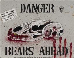 Sale 9081A - Lot 5093 - Artist Unknown - Danger Bears Ahead 35 x 35 cm