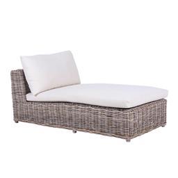 Sale 9250T - Lot 86 - A single modular day bed featuring rattan base, fruitwood legs & linen cushions. Height 61cm x Width 155cm x Depth 82cm