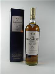 Sale 8342A - Lot 53 - 1x The Macallan Distillers 18YO Fine Oak Single Malt Highland Scotch Whisky - 43% ABV, 700ml in box