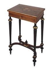 Sale 8379A - Lot 61 - A French Napoleon III rosewood Ladies dressing table with a fitted interior and original looking glass. Floral and line inlays in fr...