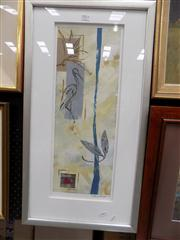 Sale 8441T - Lot 2081 - Peter Johnson (XX - ) - Untitled (Crane Bird in Abstract), 2003 55 x 20cm