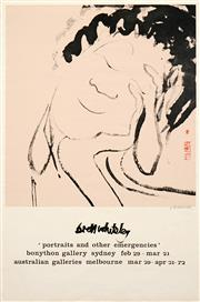 Sale 8492A - Lot 5008 - Brett Whiteley (1939 - 1992) - portraits and other emergencies (Exhibition poster for Bonython Gallery / Australia Galleries) 51 x...