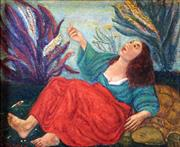 Sale 8655A - Lot 5028 - Salvatore Zofrea (1946 - ) - Woman and Tortoise, 1974 36.5 x 44cm
