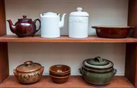 Sale 8735 - Lot 45 - Two shelf lots of kitchen ceramics including a Sadler teapot, Denby stoneware, lidded tureens etc
