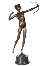 Sale 9034A - Lot 5059 - Archer, bronze sculpture on marble base after Milo, H 60 cm