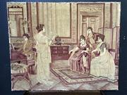 Sale 9048 - Lot 1063 - Early 20th Century Tapestry of the Music Lesson, depicting an early 19th century interior, with lady singing accompanied by a pian...