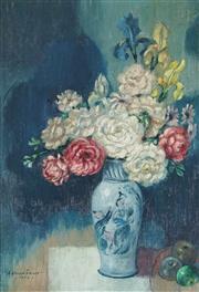 Sale 9067 - Lot 526 - Adrian Feint (1894-1971) - Vase With Roses & Apples, 1962 19 x 14 cm (frame: 37 x 32 x 3 cm)
