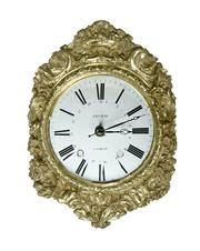 Sale 9087H - Lot 21 - Antique French clock face / dial Sieurac fitted with a quartz movement 40 x 32 cm