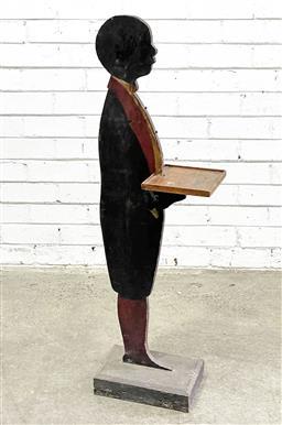 Sale 9112 - Lot 1022 - Vintage timber waiter boy cut out (h:105 w:35 d:19cm)