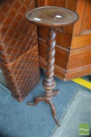 Sale 8317 - Lot 1083 - Oak Barley Twist Pedestal with circular top & three outswept feet