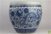 Sale 8508 - Lot 18 - Blue and White Dragon Themed Pot