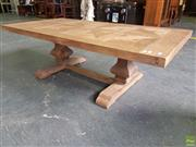 Sale 8601 - Lot 1484 - Parquetry Top Coffee Table on Stretcher Base (H: 45 L: 140 W: 70cm)