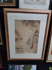 Sale 8613 - Lot 2078 - H J Brow, Countryscape of Cottage, watercolour, 63 x 49cm (frame size), signed lower left