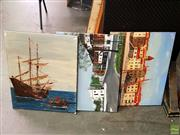 Sale 8655 - Lot 2054 - John Colbert (3 works) - Maritime and Street Scenes, acrylics on canvas, various sizes, each signed lower