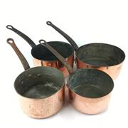 Sale 8760D - Lot 43 - Assorted French Copper Saucepans (4) D: 21cm (largest)
