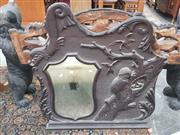 Sale 8917 - Lot 1052 - Early 20th Century Australian Kookaburra Overmantle Mirror, feeding its young, the shield shaped plate flanked by a fish