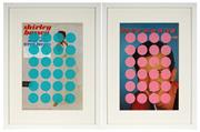 Sale 8964 - Lot 2018 - Ian Thomas (2 works) Untitled (Spots Aqua/Pink) screenprints on vintage LP cover, 32.5 x 42.5cm; 42.5 x 32.5cm (frames)