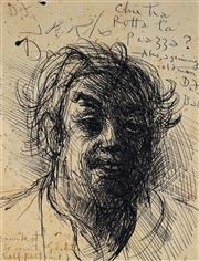 Sale 9021 - Lot 547 - Donald Friend (1915 - 1989) - Self Portrait, Drunk at Coconut Grove 18.5 x 14.5 cm (frame: 43 x 39 x 3 cm)