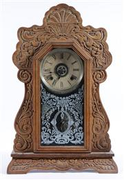 Sale 9003 - Lot 1 - Ansonia Clock With Well Carved Timber Frame H: 55cm