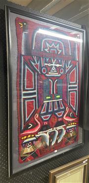 Sale 9011 - Lot 2097 - Aztec Style Textile, 107 x 75cm (frame) -