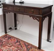 Sale 9023H - Lot 79 - A Chinese elm console table or desk  with three drawers and carved apron. H-80cm W-113 D-45cm