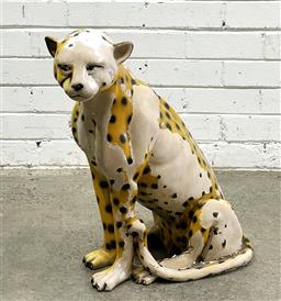 Sale 9112 - Lot 1020 - Cheetah statue - losses (h:58cm)