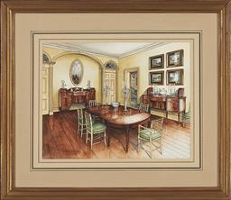 Sale 9245J - Lot 63 - JAMES STEINMEYER Interior Scene, 2004 watercolour 28 x 35.5 cm (frame: 48 x 55 x 3 cm) signed and dated lower left