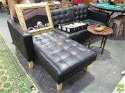 Sale 8424 - Lot 1047 - Black Leather L Shaped Couch
