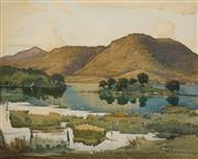 Sale 8597 - Lot 506 - John Roy Eldershaw (1892 - 1973) - Untitled (Lake Scene) 36.5 x 46cm