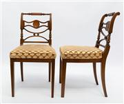 Sale 8660A - Lot 16 - A rare set of 10 Australian Art Deco walnut chairs made by Decoro of Nth. Coberg Victoria C: 1930 - 1950. The turned top rails above...