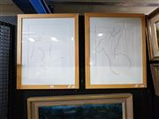 Sale 8699 - Lot 2050 - Pair of Nude Sketch Prints 60 x 45.5cm (frame)