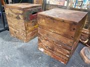 Sale 8826 - Lot 1014 - Pair of Rustic Hardwood Stools