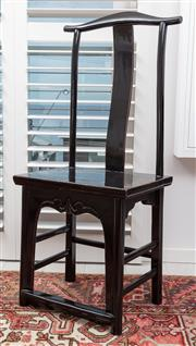 Sale 9023H - Lot 80 - A Chinese Scholars chair of elegant form and ebonised finish, height of back 115cm W-49cm D-39cm
