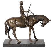 Sale 9034A - Lot 5023 - Jockey and Horse, bronze sculpture on marble base after Minay, H 38 cm