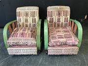 Sale 9056 - Lot 1052 - Pair of Retro Armchairs on Castors with Sunrise Arms (H:83 W:63 D:83cm)
