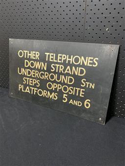 Sale 9129 - Lot 1038 - Vintage train station sign on board (h:31 x w:51cm)