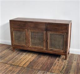 Sale 9250T - Lot 89 - A fruitwood buffet with 3 woven panelled doors and 3 drawers in honey brown. Height 82cm x Width 140cm x Depth 40cm