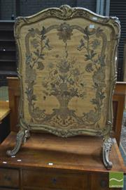 Sale 8317 - Lot 1051 - 19th Century Finely Carved & Gilt Firescreen, in rococo style, with silk weave & needlework panels (slight chipping to gilt, fire da...