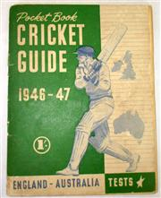 Sale 8460C - Lot 30 - Pocket Book Cricket Guide 1946–47. England – Australia Tests. Sydney 1946. 99 pages some repaired tears. Good.