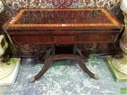 Sale 8576 - Lot 1032 - Regency Rosewood & Brass Inlaid Card Table, the top with satinwood band & green felt interior, on a cluster column base with outswep...